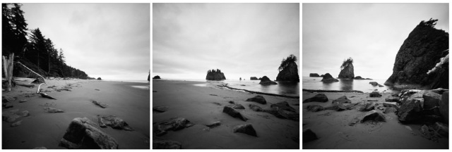 Camera: Zero Image 2000 PinholeFilm: Kodak Ektar 100 (converted to BW)Location: Second Beach - Olympic National Park, Washington State